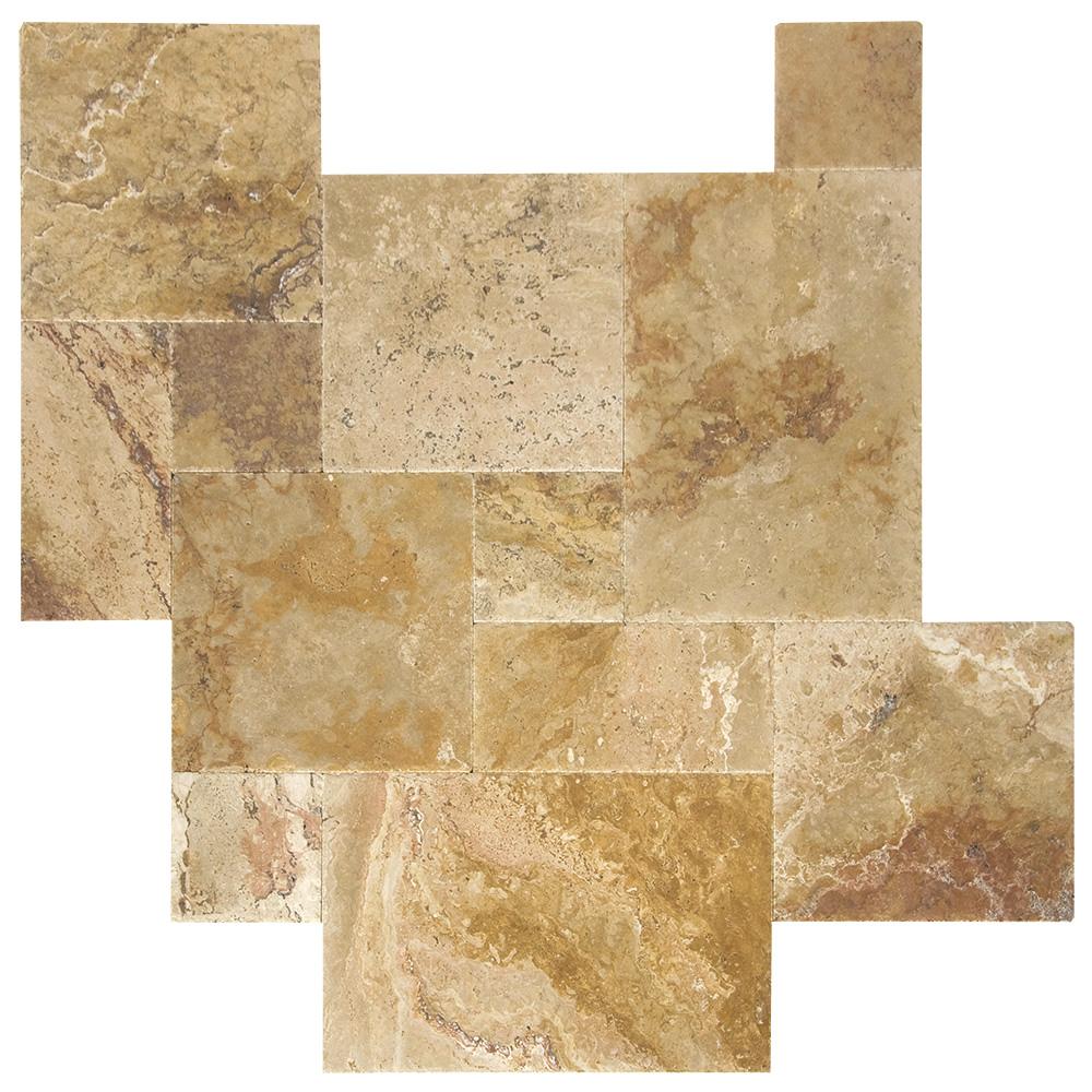 Antique Blend Brushed Chiseled French Pattern Travertine Tiles-Travertine tiles sale