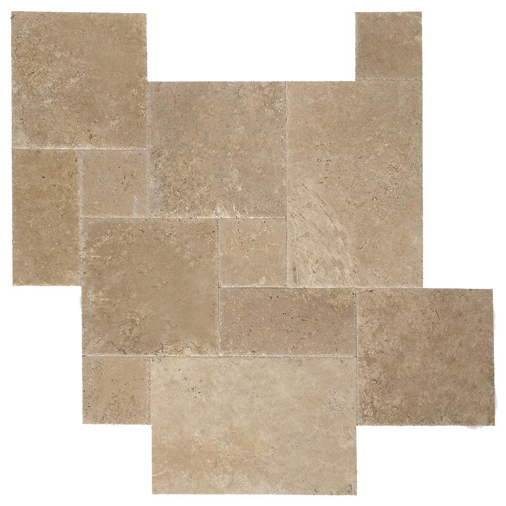 Walnut Brushed Chiseled French Pattern Travertine Tiles-Travertine tiles sale